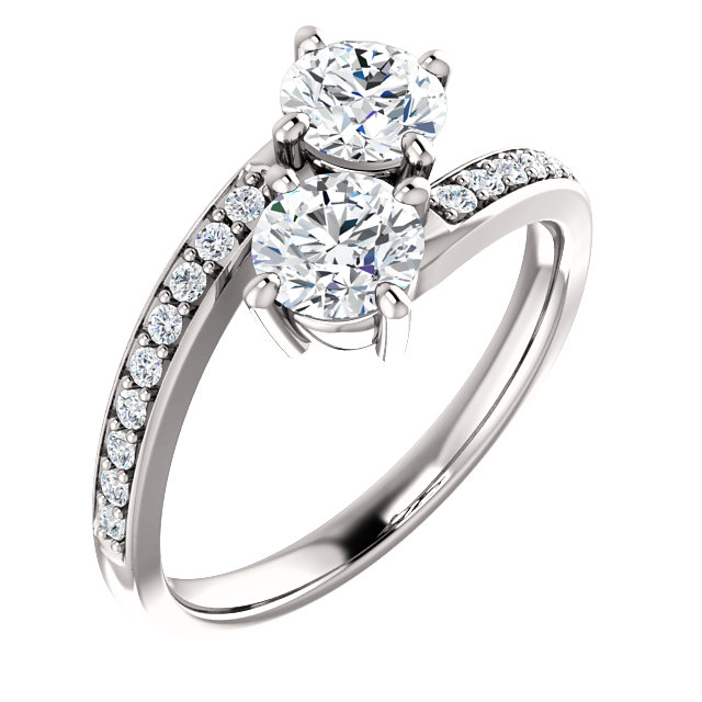 Accented 2 Stone Engagement Ring