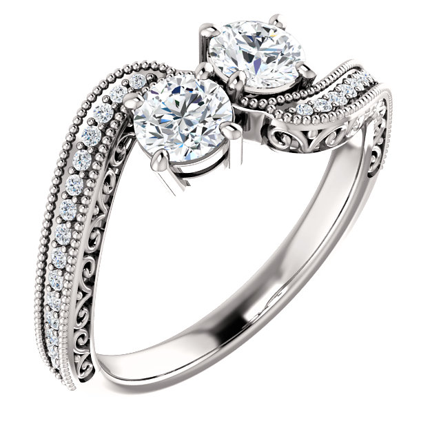 Vintage Style 2 Stone Engagement Ring