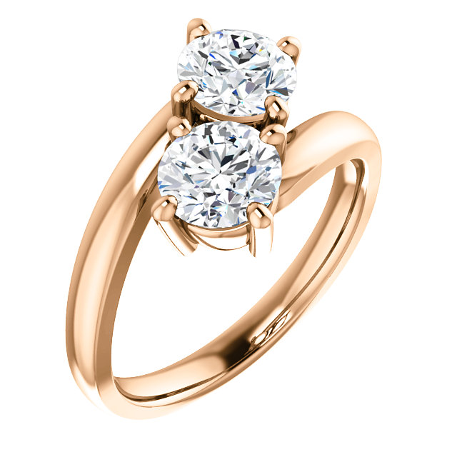 Rose Gold 2 Stone Engagement Ring