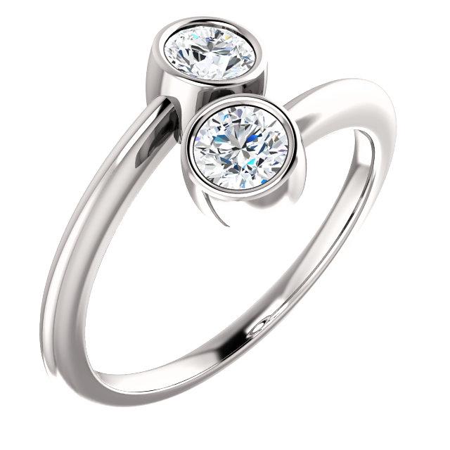 Bezel 2 Stone Engagement Ring