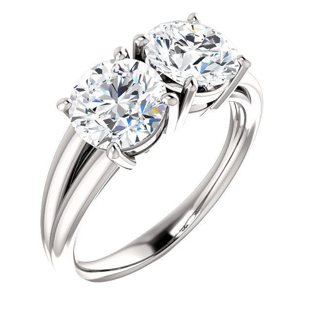 Split 2 Stone Engagement Ring