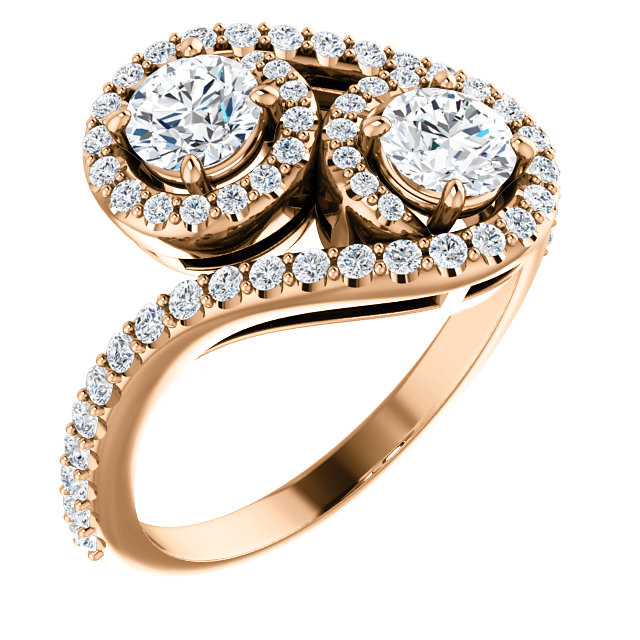 Double Halo 2 Stone Engagement Ring
