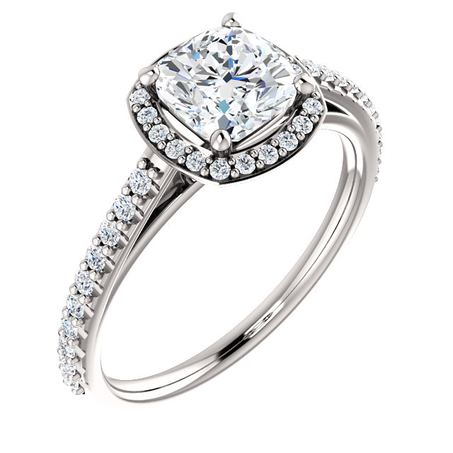 Cushion Style Halo Engagement Ring