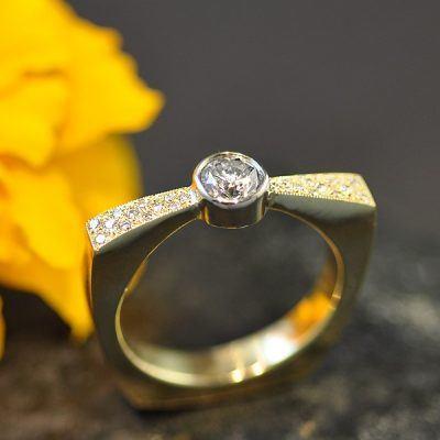 Custom Bowtie Diamond Engagement Ring