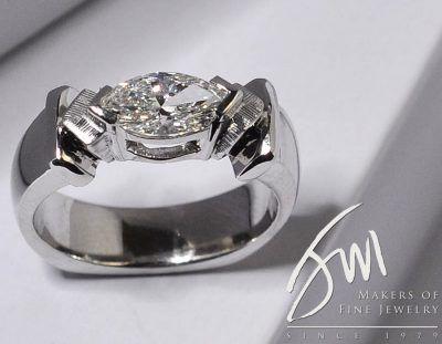 Custom Design Marquise Engagement Ring