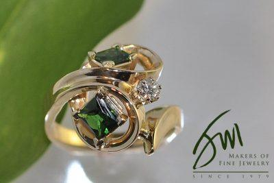 Gold Tsavorite & Diamond Ring