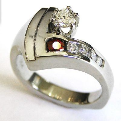 Custom Diamond and Ruby Engagement Ring