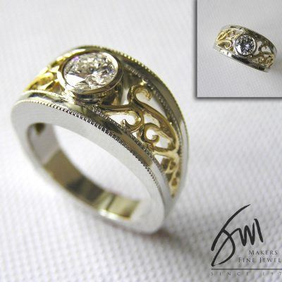 Custom Filigree Diamond Engagement Rings