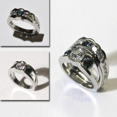 Engagement and Wedding Band with Blue Diamonds