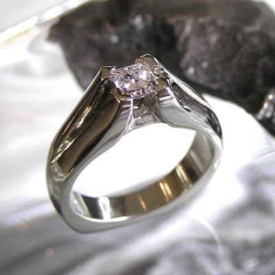 Engagement Ring Meteorite Diamond