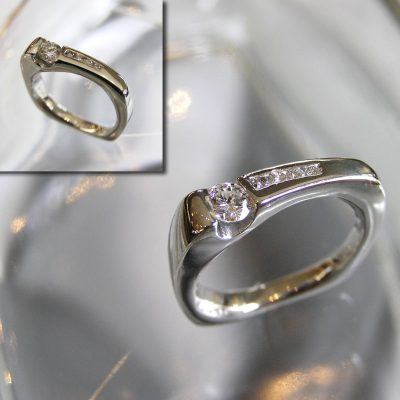 Platinum Diamond Wedge Ring