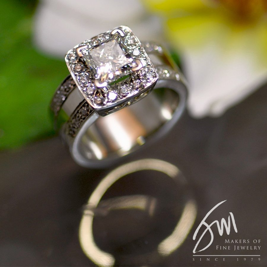 Wide Band Halo Engagement Ring Jack Miller Jewelry Designers