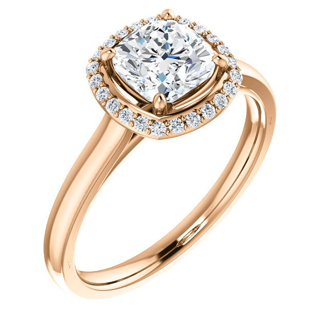 14k Rose Halo Engagement Ring