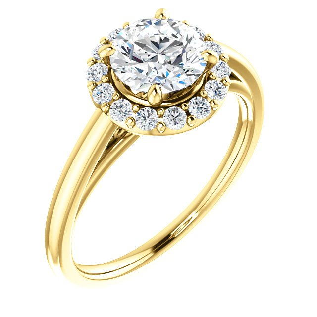14k Yellow Halo Engagement Ring