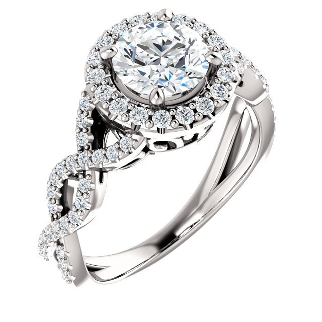 Vintage Twist Halo Engagement Ring