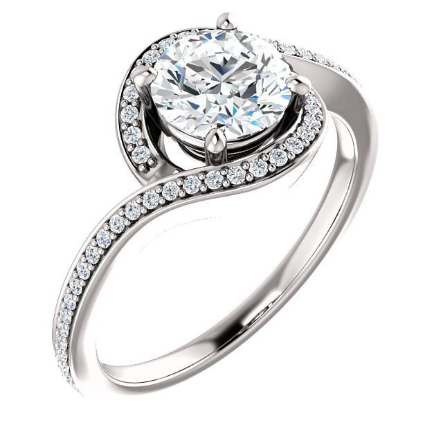 Bypass Style Halo Engagement Ring