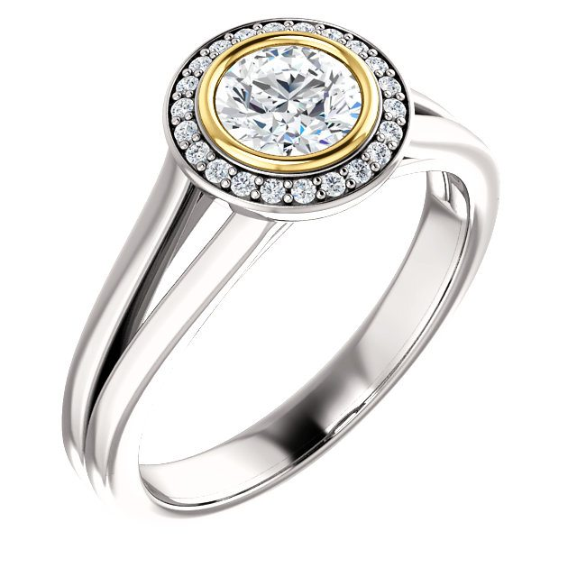 Two-Tone Bezel Halo Engagement Ring