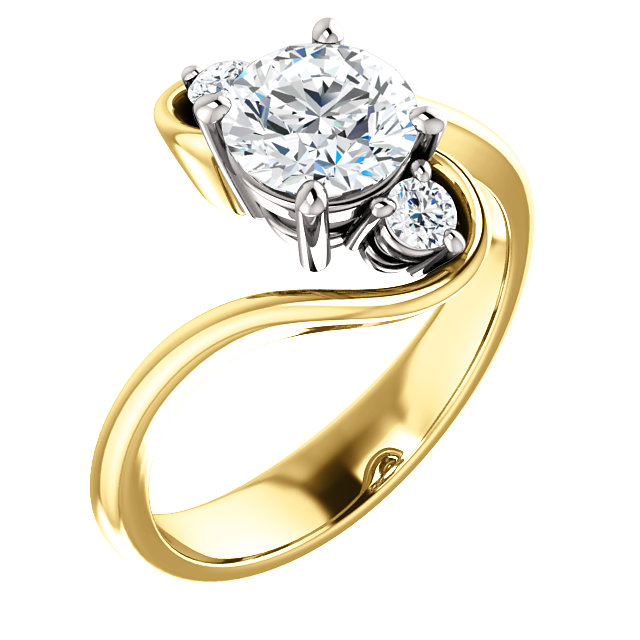 Offset 3 Ring Engagement Ring