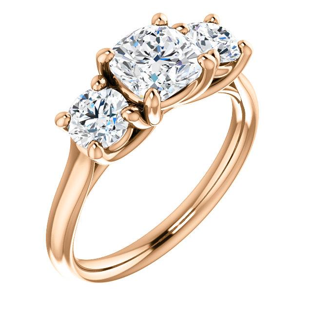 14k Rose 3 Stone Ring