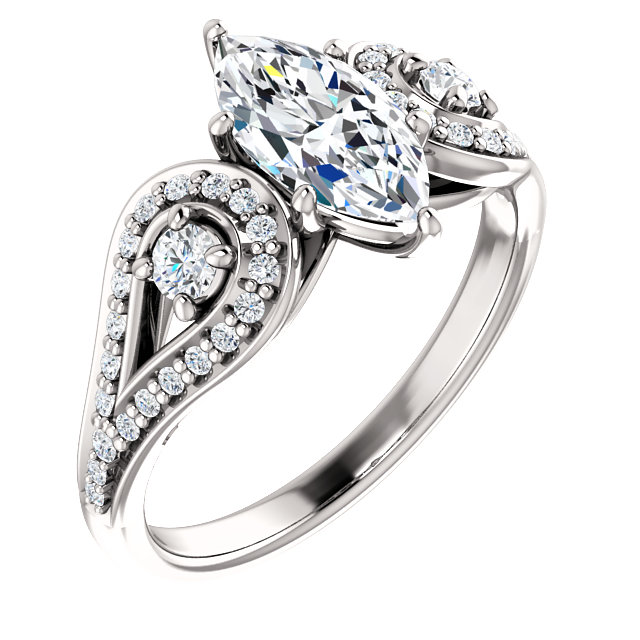 Marquis 3 Stone Engagement Ring