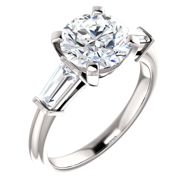 Baguette 3 Stone Engagement Ring