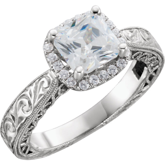 Halo Princess Vintage Style Engagement Ring
