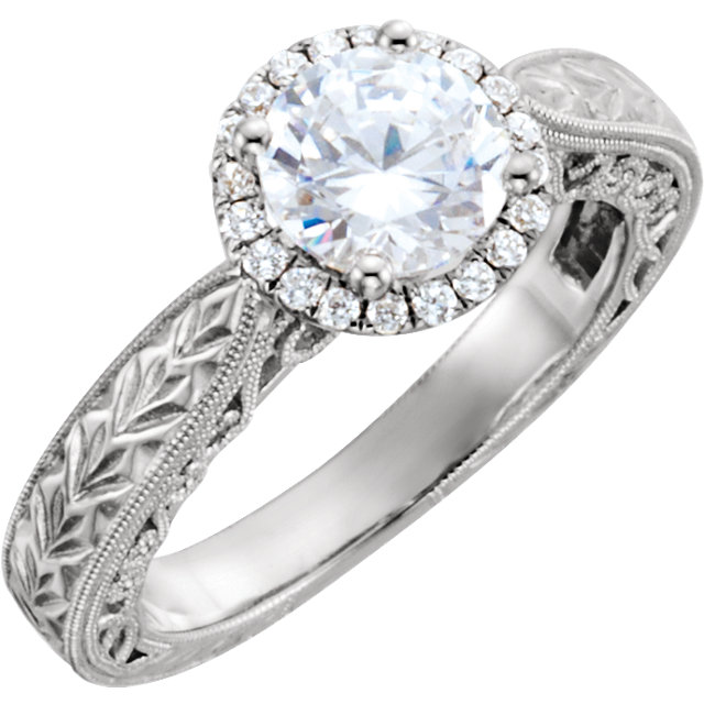 Round Halo Vintage Style Engagement Ring