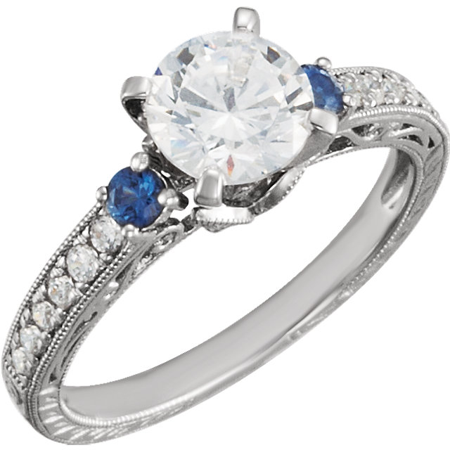 3 Stone Vintage Style Engagement Ring