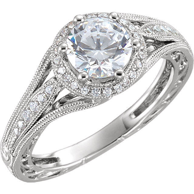 Split Shank Vintage Style Engagement Ring